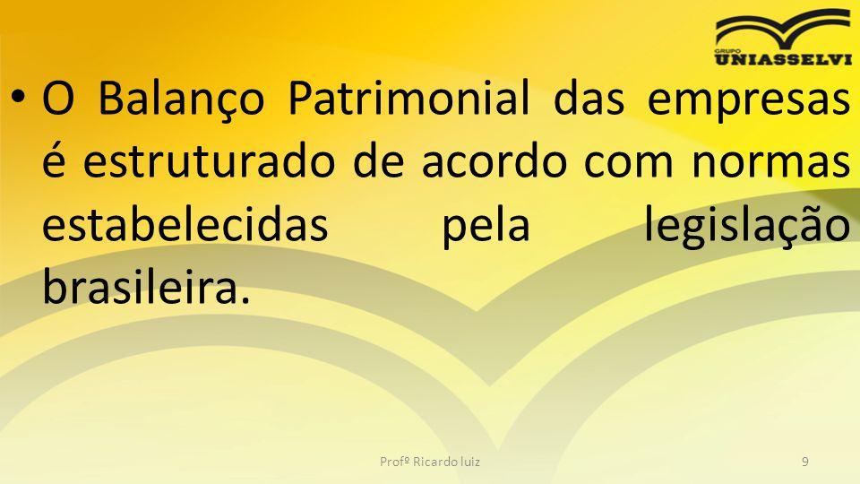 O Balanço Patrimonial das empresas é estruturado de acordo com normas estabelecidas pela legislação brasileira.