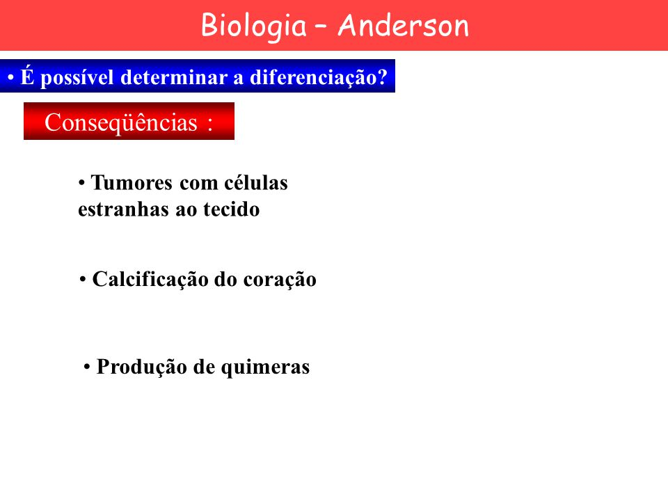 Biologia – Anderson Conseqüências :