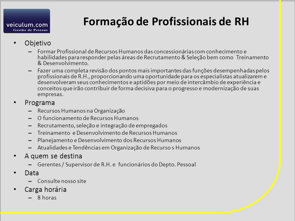 Formação de Profissionais de RH