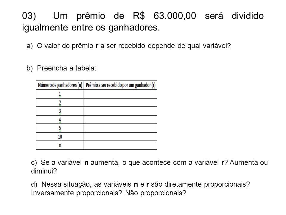 03) Um prêmio de R$ 63.000,00 será dividido igualmente entre os ganhadores.