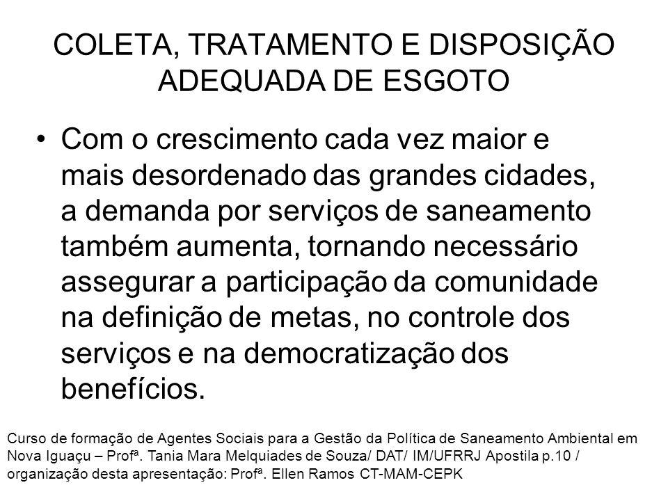 COLETA, TRATAMENTO E DISPOSIÇÃO ADEQUADA DE ESGOTO