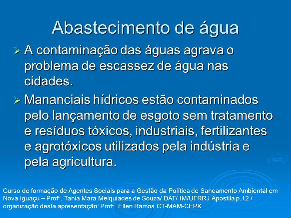 Abastecimento de água A contaminação das águas agrava o problema de escassez de água nas cidades.