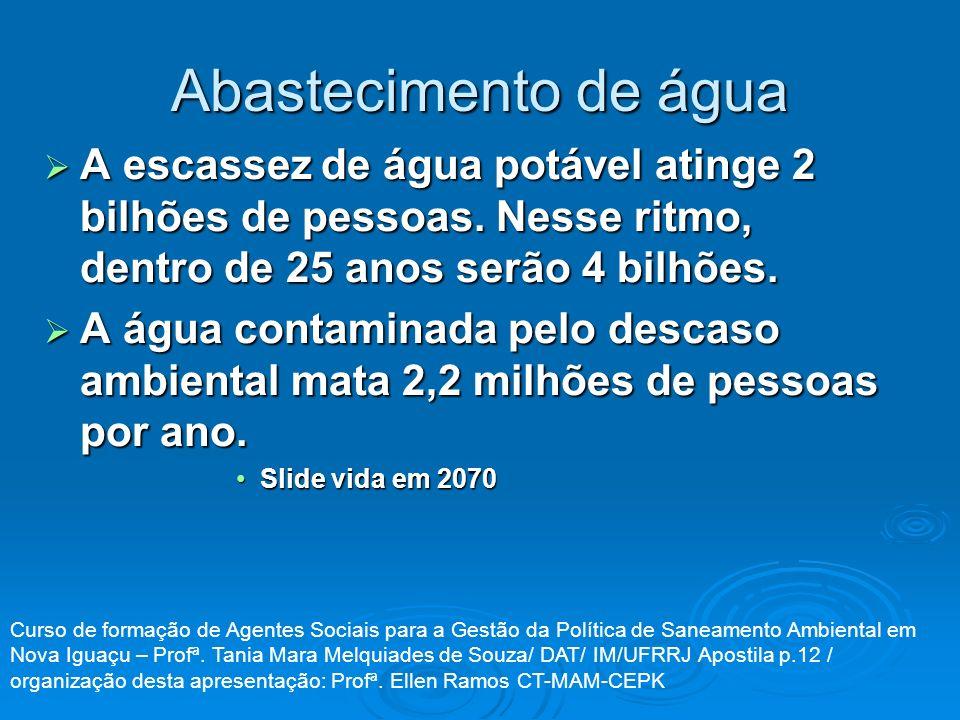 Abastecimento de água A escassez de água potável atinge 2 bilhões de pessoas. Nesse ritmo, dentro de 25 anos serão 4 bilhões.
