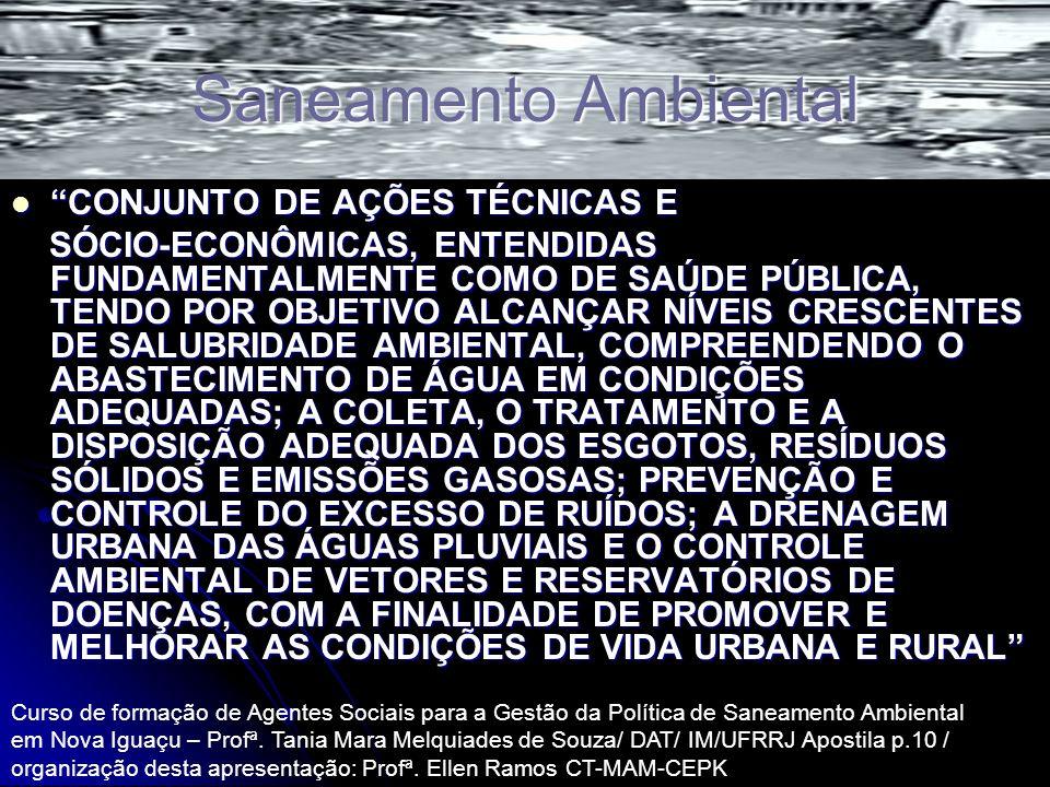 Saneamento Ambiental CONJUNTO DE AÇÕES TÉCNICAS E
