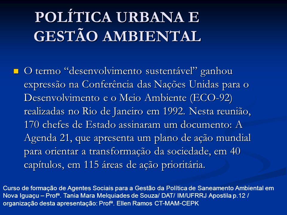 POLÍTICA URBANA E GESTÃO AMBIENTAL