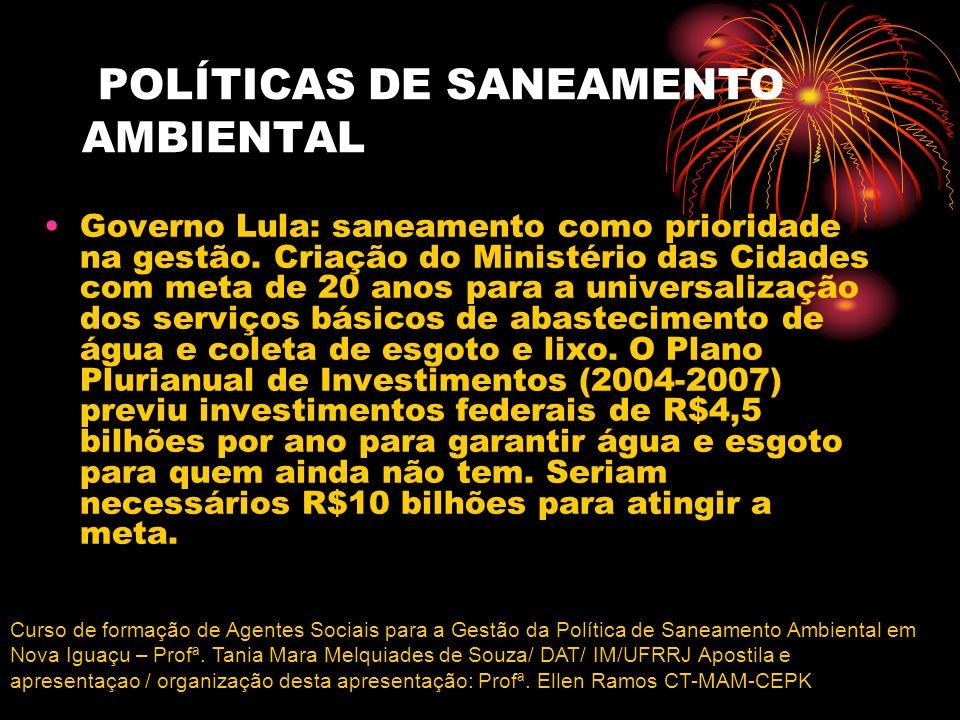 POLÍTICAS DE SANEAMENTO AMBIENTAL