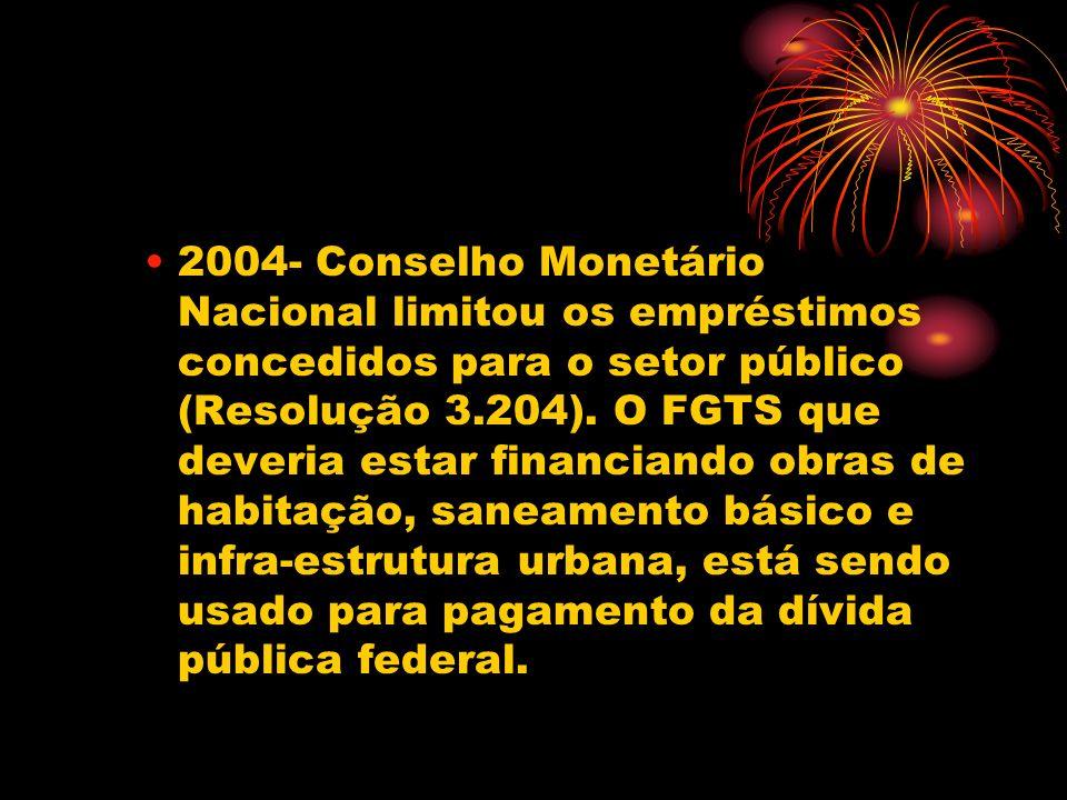 2004- Conselho Monetário Nacional limitou os empréstimos concedidos para o setor público (Resolução 3.204).