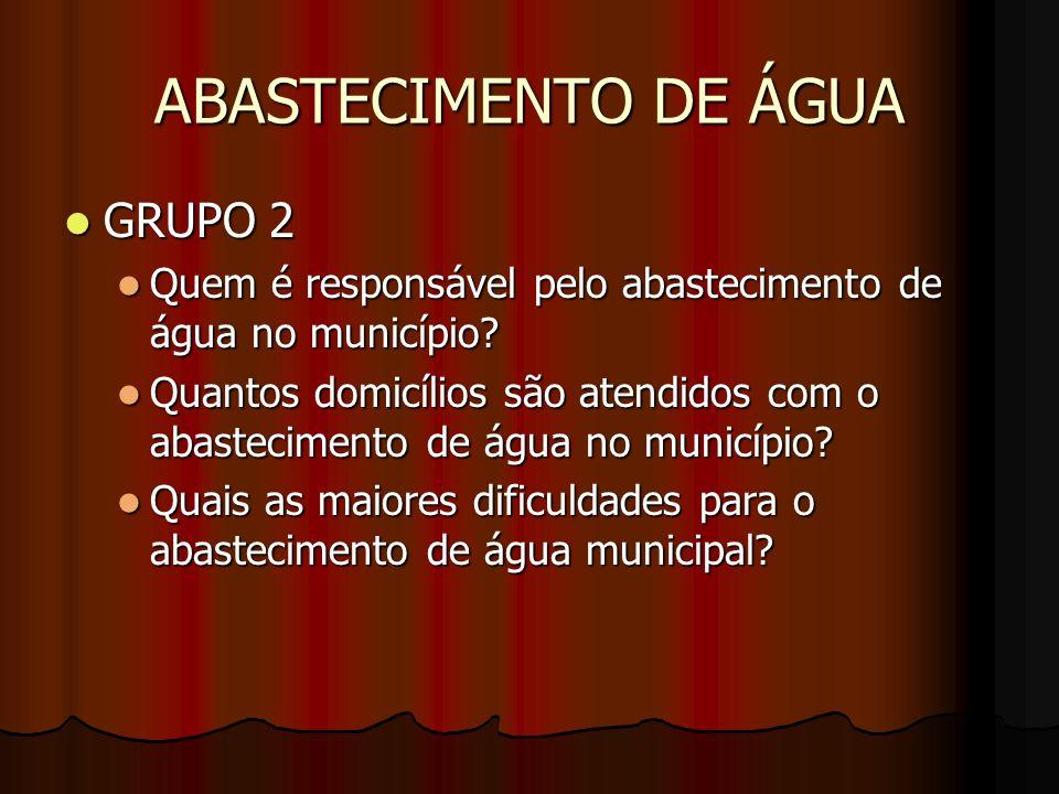 ABASTECIMENTO DE ÁGUA GRUPO 2