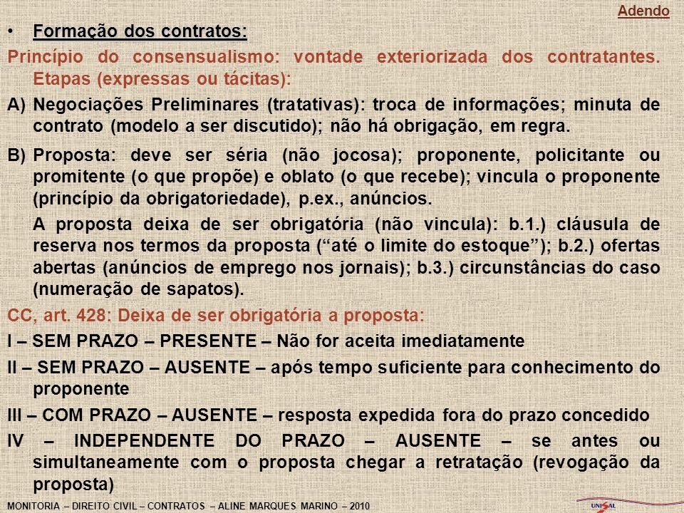 Formação dos contratos: