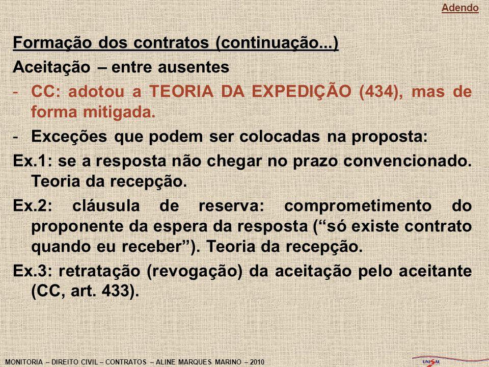 Formação dos contratos (continuação...) Aceitação – entre ausentes