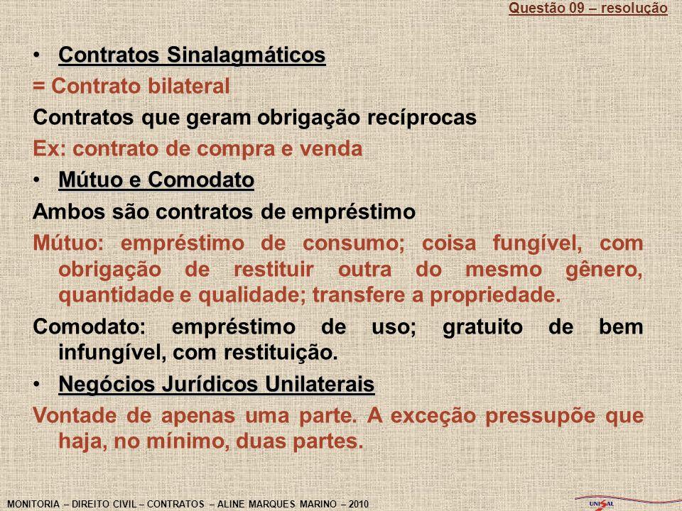 Contratos Sinalagmáticos = Contrato bilateral