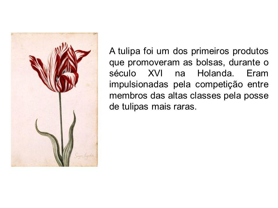 A tulipa foi um dos primeiros produtos que promoveram as bolsas, durante o século XVI na Holanda.