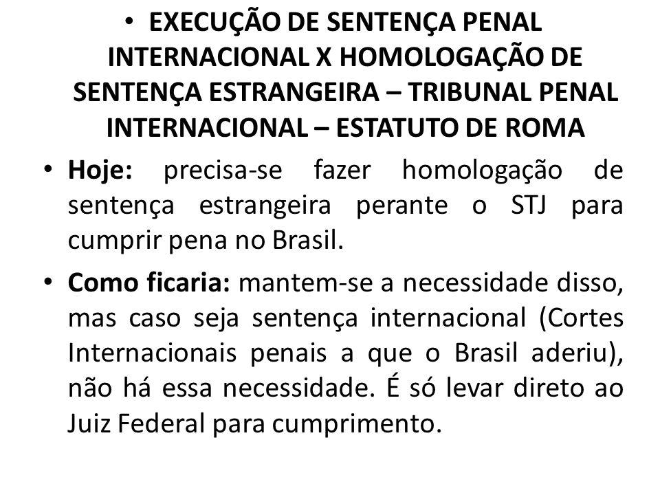EXECUÇÃO DE SENTENÇA PENAL INTERNACIONAL X HOMOLOGAÇÃO DE SENTENÇA ESTRANGEIRA – TRIBUNAL PENAL INTERNACIONAL – ESTATUTO DE ROMA