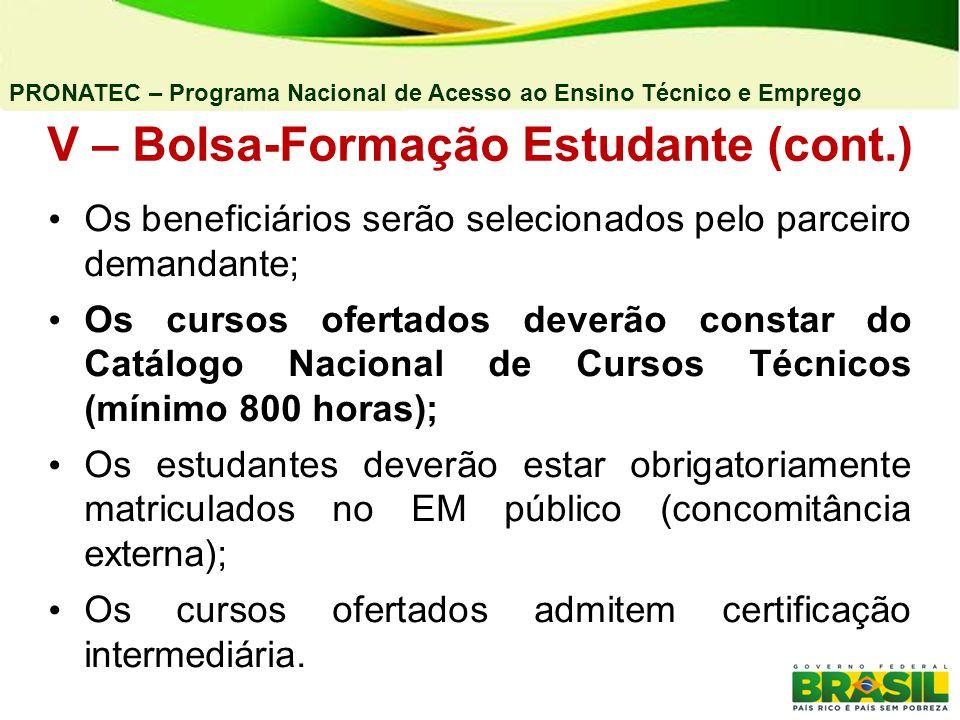 V – Bolsa-Formação Estudante (cont.)