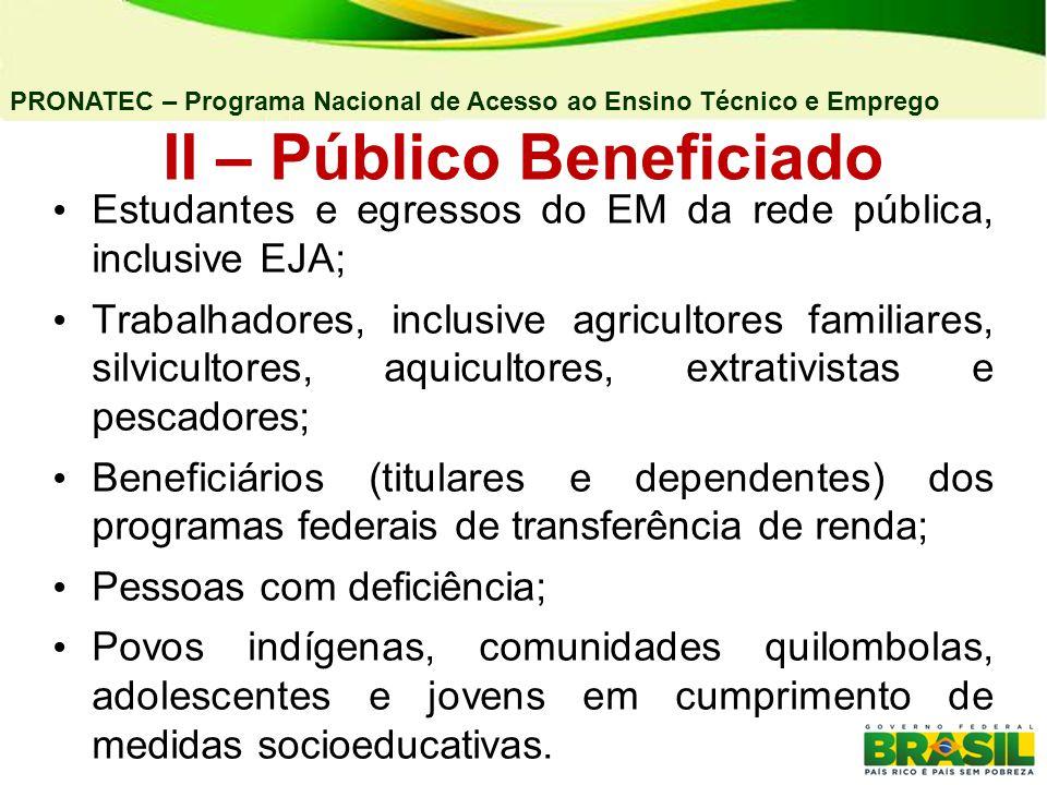 II – Público Beneficiado