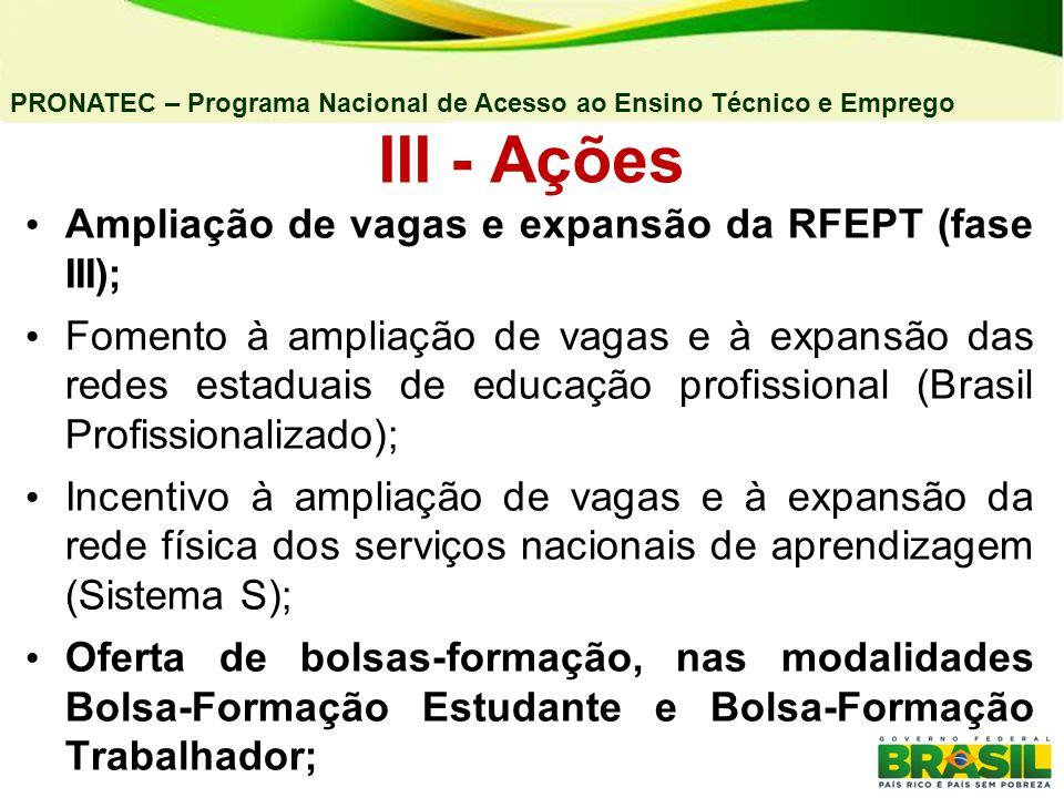 III - Ações Ampliação de vagas e expansão da RFEPT (fase III);