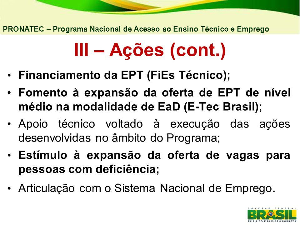 III – Ações (cont.) Financiamento da EPT (FiEs Técnico);
