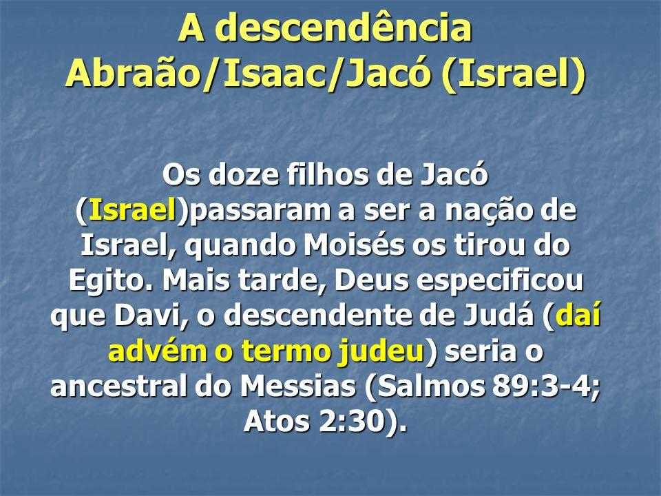 A descendência Abraão/Isaac/Jacó (Israel)