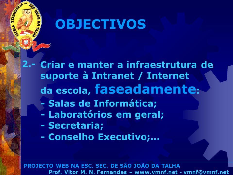 OBJECTIVOS 2.- Criar e manter a infraestrutura de suporte à Intranet / Internet da escola, faseadamente: