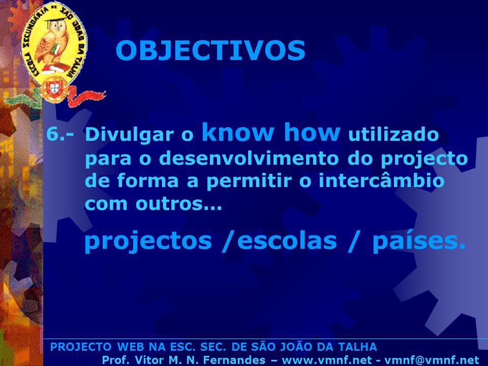OBJECTIVOS projectos /escolas / países.