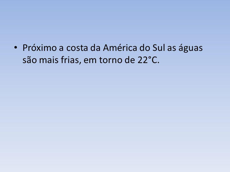 Próximo a costa da América do Sul as águas são mais frias, em torno de 22°C.