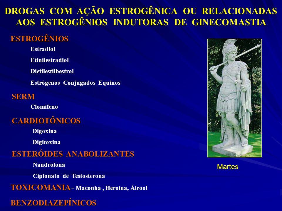 DROGAS COM AÇÃO ESTROGÊNICA OU RELACIONADAS AOS ESTROGÊNIOS INDUTORAS DE GINECOMASTIA