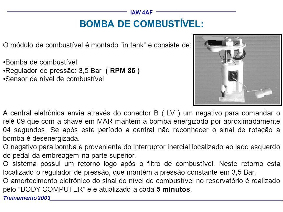 BOMBA DE COMBUSTÍVEL: O módulo de combustível é montado in tank e consiste de: Bomba de combustível.