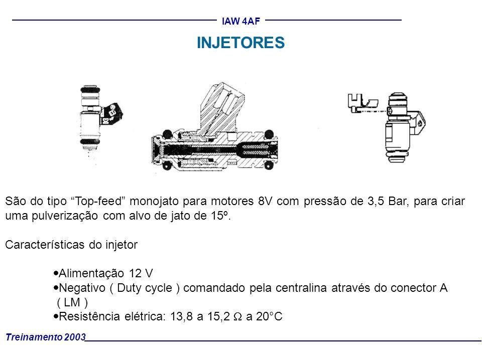 INJETORES São do tipo Top-feed monojato para motores 8V com pressão de 3,5 Bar, para criar uma pulverização com alvo de jato de 15º.