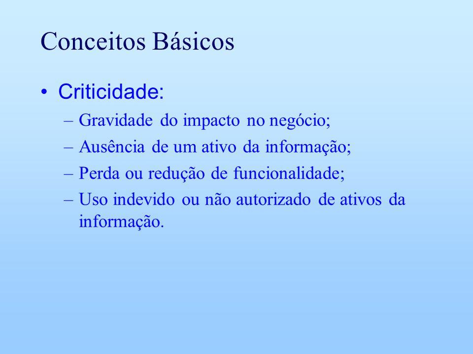 Conceitos Básicos Criticidade: Gravidade do impacto no negócio;