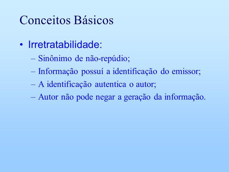 Conceitos Básicos Irretratabilidade: Sinônimo de não-repúdio;
