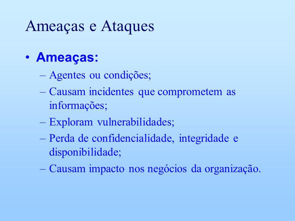 Ameaças e Ataques Ameaças: Agentes ou condições;