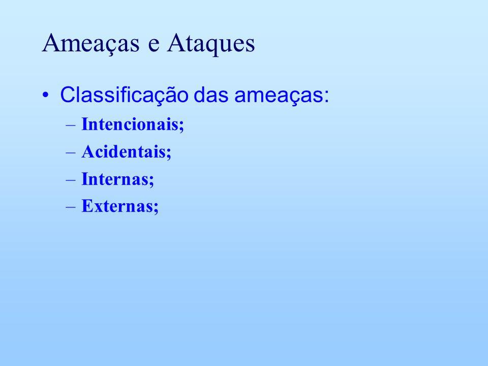 Ameaças e Ataques Classificação das ameaças: Intencionais; Acidentais;