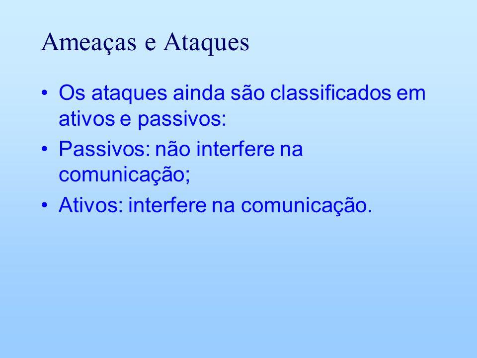Ameaças e Ataques Os ataques ainda são classificados em ativos e passivos: Passivos: não interfere na comunicação;