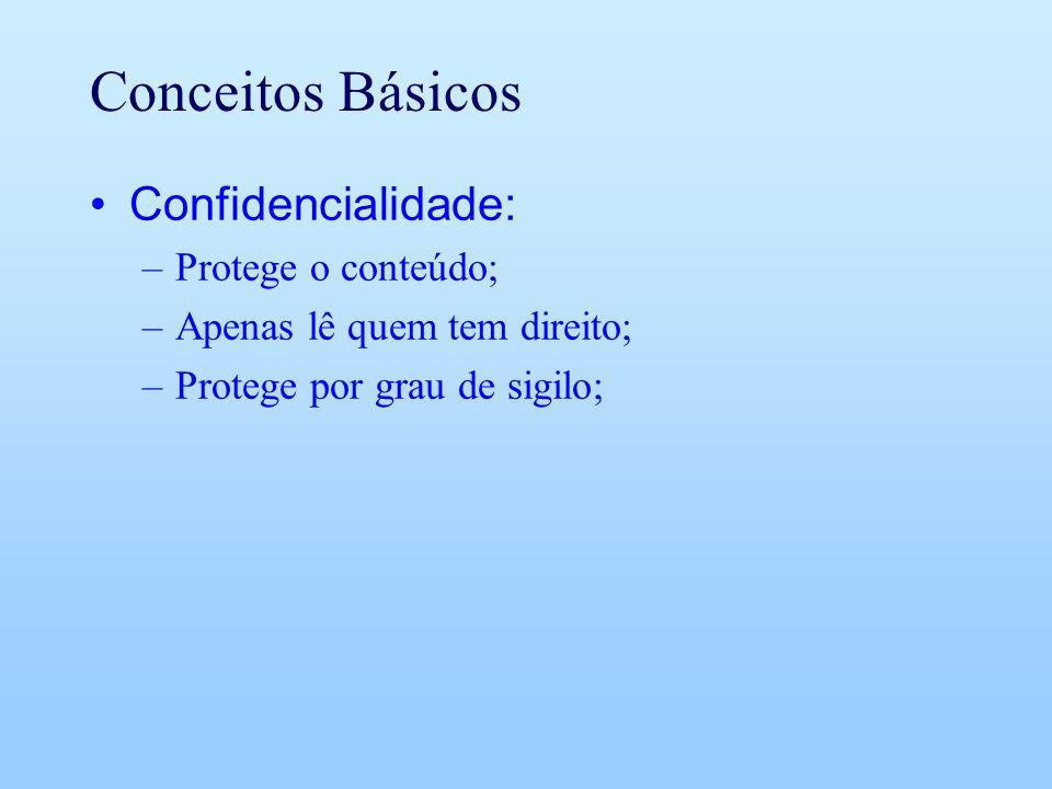 Conceitos Básicos Confidencialidade: Protege o conteúdo;