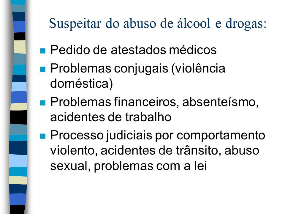 Suspeitar do abuso de álcool e drogas: