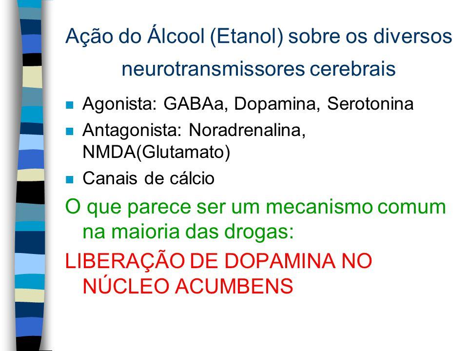Ação do Álcool (Etanol) sobre os diversos neurotransmissores cerebrais
