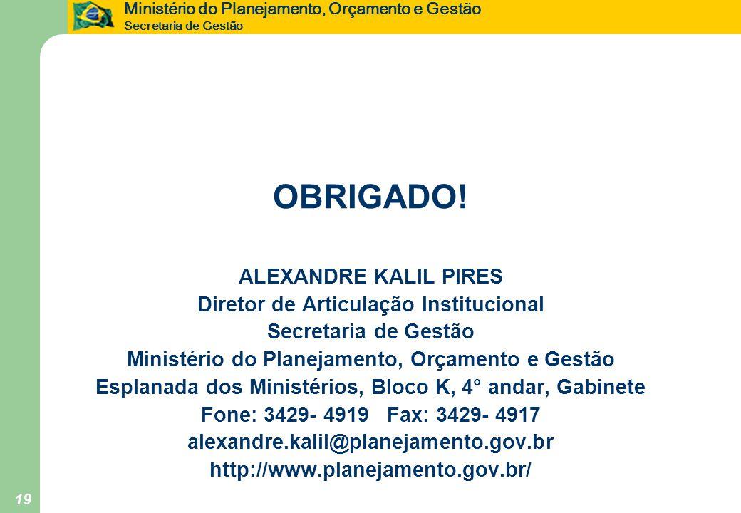 OBRIGADO! ALEXANDRE KALIL PIRES Diretor de Articulação Institucional