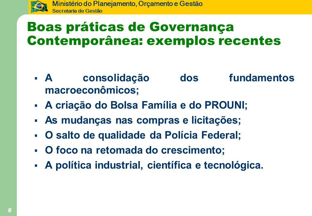 Boas práticas de Governança Contemporânea: exemplos recentes