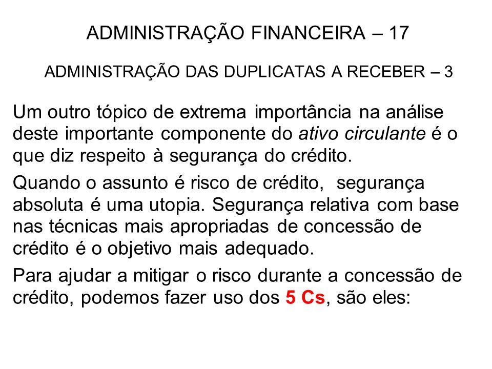 ADMINISTRAÇÃO FINANCEIRA – 17