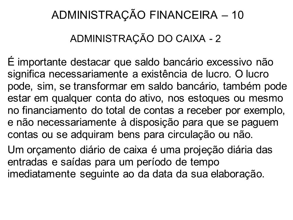 ADMINISTRAÇÃO FINANCEIRA – 10