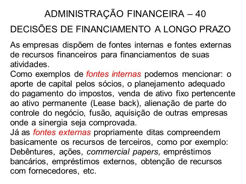 ADMINISTRAÇÃO FINANCEIRA – 40 DECISÕES DE FINANCIAMENTO A LONGO PRAZO As empresas dispõem de fontes internas e fontes externas de recursos financeiros para financiamentos de suas atividades.