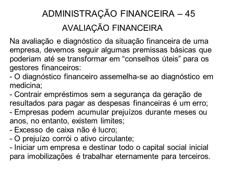 ADMINISTRAÇÃO FINANCEIRA – 45 AVALIAÇÃO FINANCEIRA Na avaliação e diagnóstico da situação financeira de uma empresa, devemos seguir algumas premissas básicas que poderiam até se transformar em conselhos úteis para os gestores financeiros: - O diagnóstico financeiro assemelha-se ao diagnóstico em medicina; - Contrair empréstimos sem a segurança da geração de resultados para pagar as despesas financeiras é um erro; - Empresas podem acumular prejuízos durante meses ou anos, no entanto, existem limites; - Excesso de caixa não é lucro; - O prejuízo corrói o ativo circulante; - Iniciar um empresa e destinar todo o capital social inicial para imobilizações é trabalhar eternamente para terceiros.