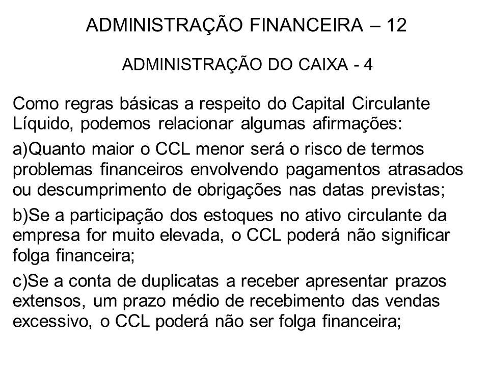ADMINISTRAÇÃO FINANCEIRA – 12