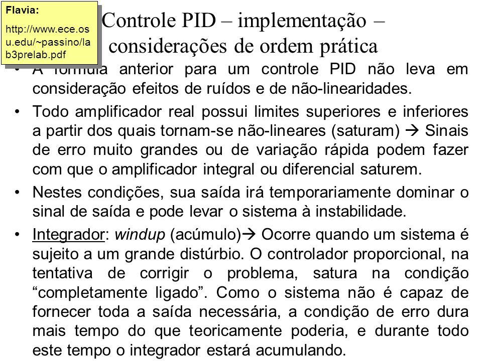 Controle PID – implementação – considerações de ordem prática