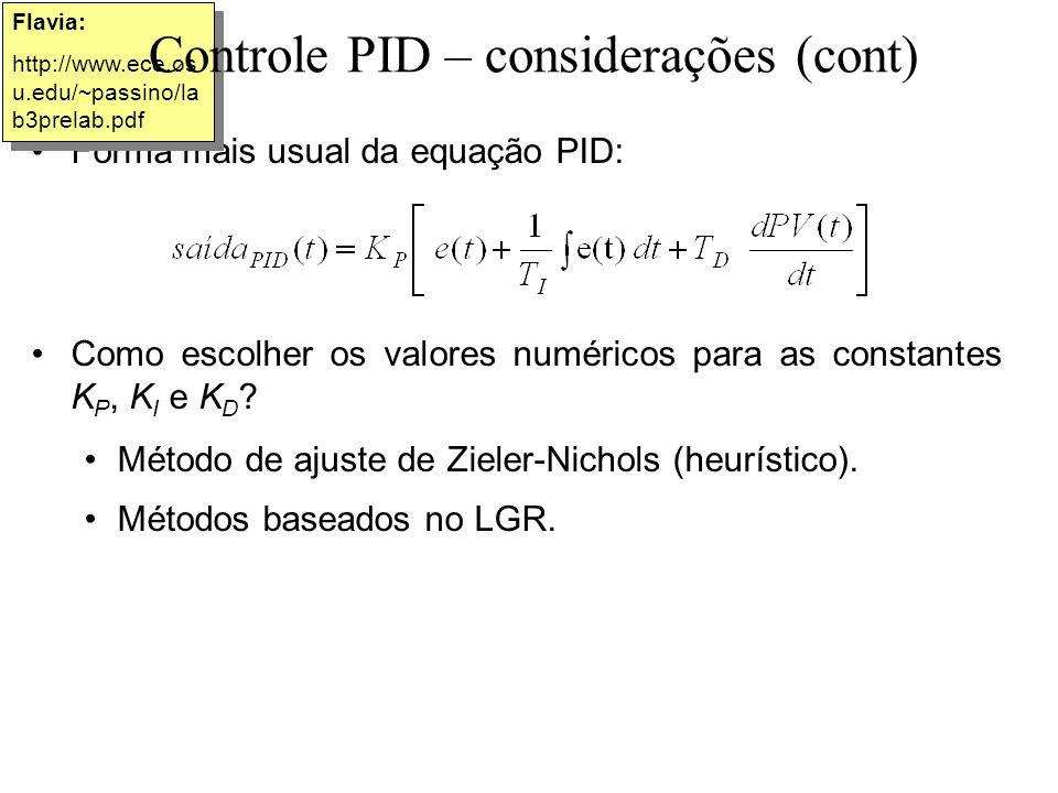 Controle PID – considerações (cont)