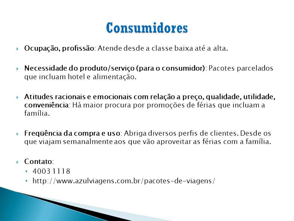 Consumidores Ocupação, profissão: Atende desde a classe baixa até a alta.