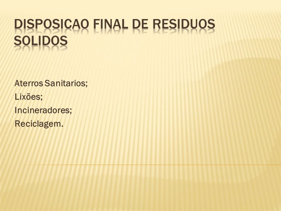 Disposicao final de residuos solidos