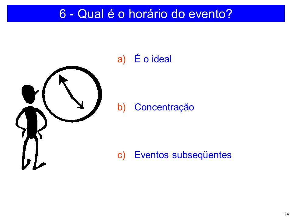 6 - Qual é o horário do evento
