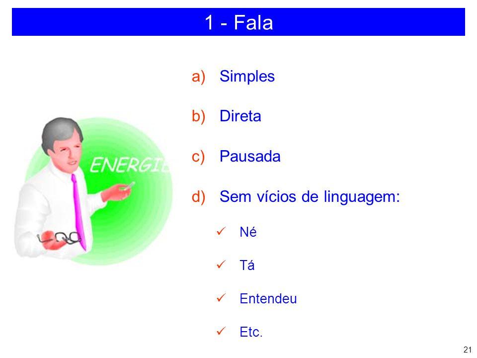 1 - Fala Simples Direta Pausada Sem vícios de linguagem: Né Tá