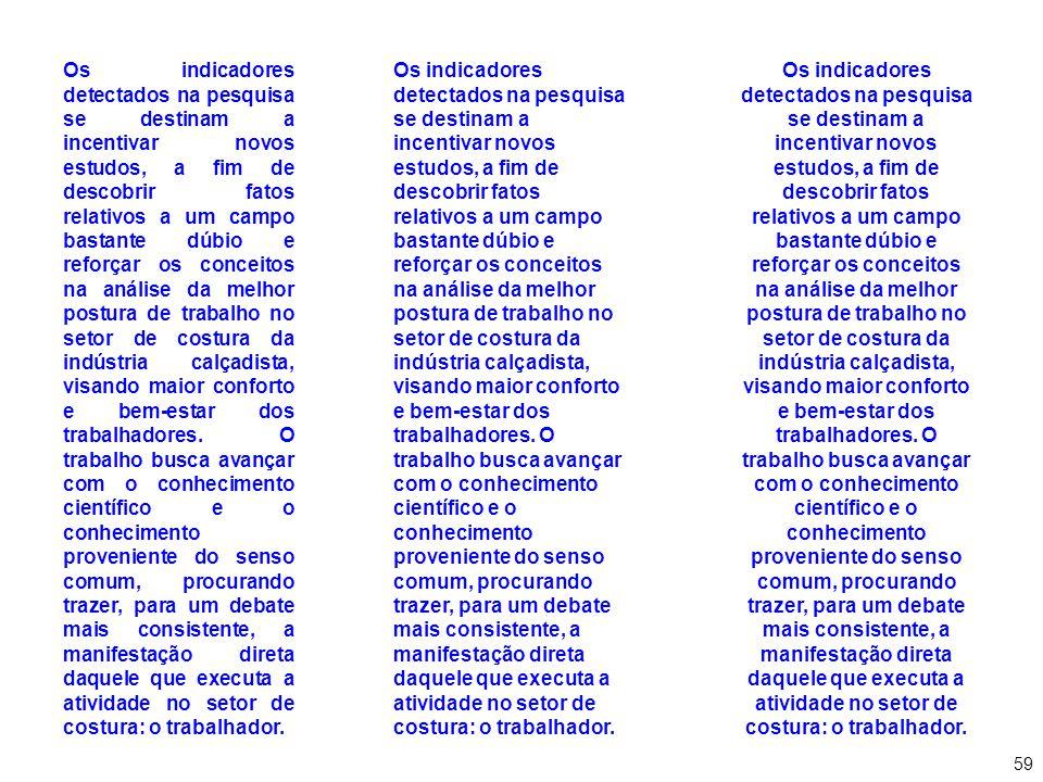 Os indicadores detectados na pesquisa se destinam a incentivar novos estudos, a fim de descobrir fatos relativos a um campo bastante dúbio e reforçar os conceitos na análise da melhor postura de trabalho no setor de costura da indústria calçadista, visando maior conforto e bem-estar dos trabalhadores. O trabalho busca avançar com o conhecimento científico e o conhecimento proveniente do senso comum, procurando trazer, para um debate mais consistente, a manifestação direta daquele que executa a atividade no setor de costura: o trabalhador.
